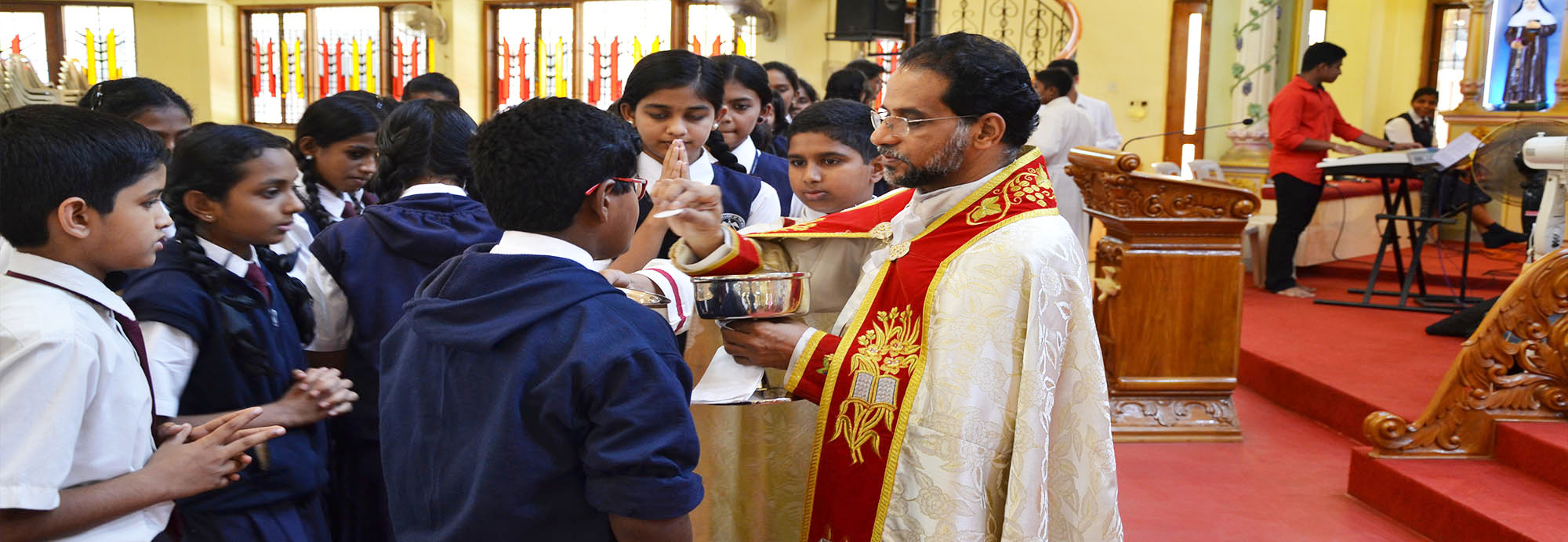 During the homily Rev. Fr. George inspired the students with his message how to experience God`s presence in students life and to live a life of love through the gifts of Holy Spirit.